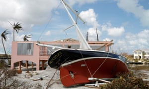 Yacht stranded on Treasure Cay in the Bahamas after Hurricane Dorian.