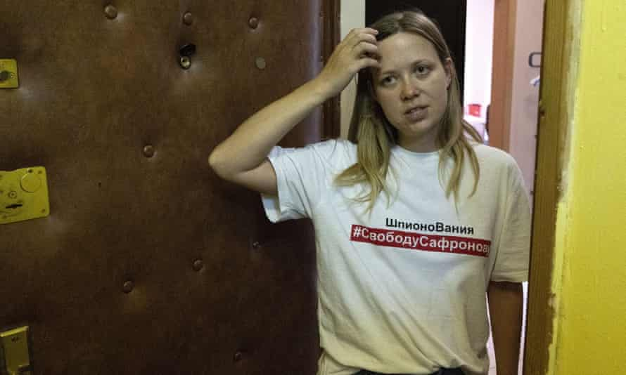 Russian journalist Maria Zholobova at her apartment in Moscow after the police raid.