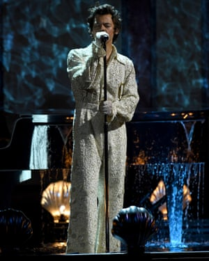 Harry Styles on stage at the Brits.