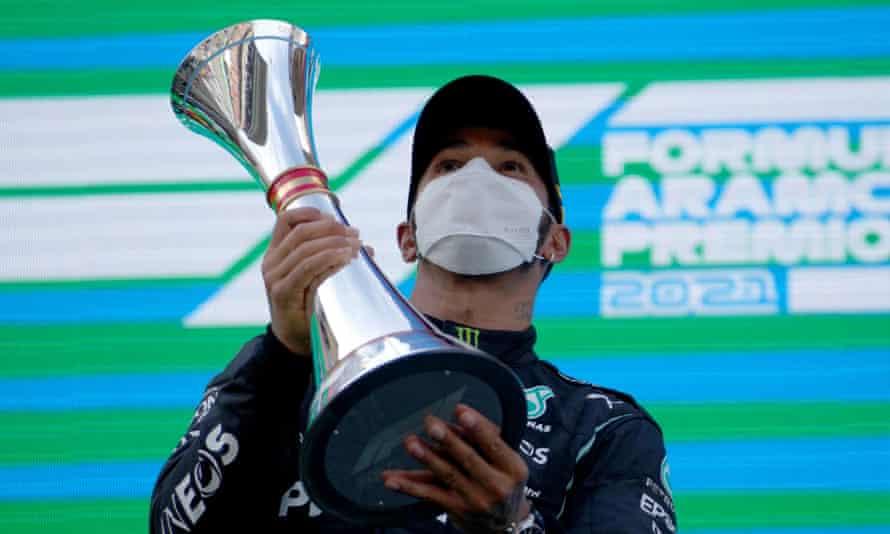 Lewis Hamilton celebrates his win for Mercedes at the Spanish Grand Prix.