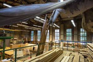 A giant pterodactyl from a past production hangs over the Volksbühne workshop.