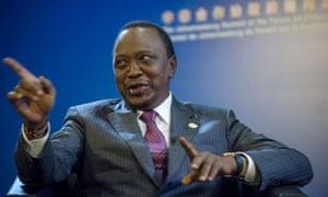 Kenyan President Uhuru Kenyatta speaking in Johannesburg this week on one of his foreign trips.