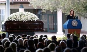 Patti Davis, daughter of Nancy Reagan, speaks at her mother's funeral.