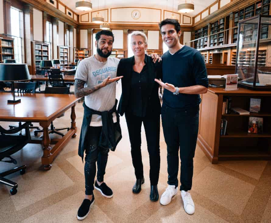 Anita Elberse, pictured with Dani Alves and Kaka, shadowed Sir Alex Ferguson in his last season in charge at Manchester United before launching her programme.