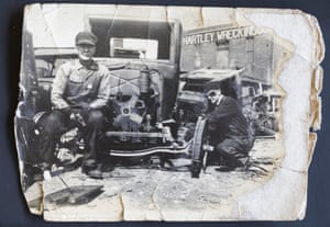 Fred Hartley and an employee on the original site of Hartley Truck Parts in downtown Muncie, 30s-40s