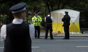 Police at the scene of the Russell Square stabbing.