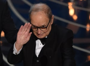Ennio Morricone accepts his Oscar