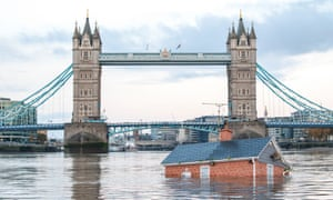A 'sinking house' floated down the River Thames in London by Extinction Rebellion protesters in November 2019.