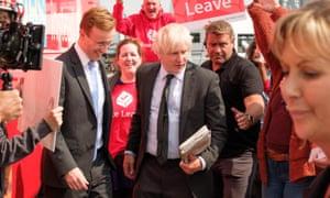 Matthew Elliot (John Heffernan) and Boris Johnson (Richard Goulding) in James Graham's Brexit: The Uncivil War.