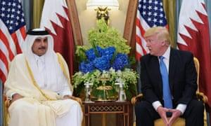 President Donald Trump with Qatar's emir, Sheikh Tamim Bin Hamad Al-Thani, in the Saudi capital Riyadh.