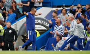 Chelsea manager Maurizio Sarri celebrates after Marcos Alonso scored their third goal