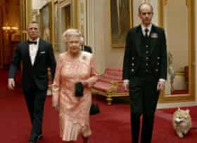 Queen Elizabeth II filmed for the 2012 Olympics joined by Daniel Craig and her corgis.