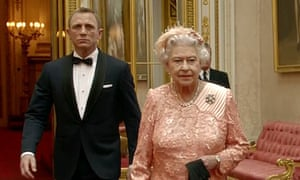 James Bond escorting Britain's Queen Elizabeth II
