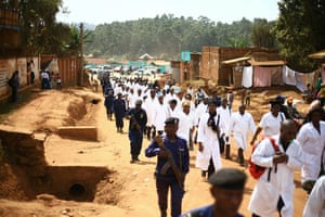 Doctors and health workers marched through Butembo in April 2019 and threatened to go on strike after Dr Richard Mouzoko Kiboung was killed at Butembo's University Hospital .