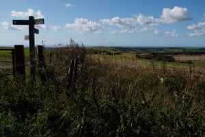 The South Downs Way footpath on Chantry Hill, looking south towards Littlehampton.