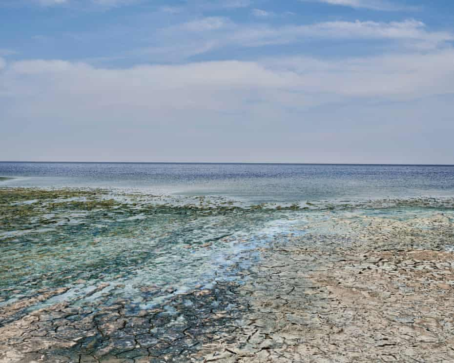 Wide view of dry area and sea