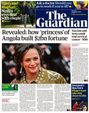 Guardian front page 20 January 2020