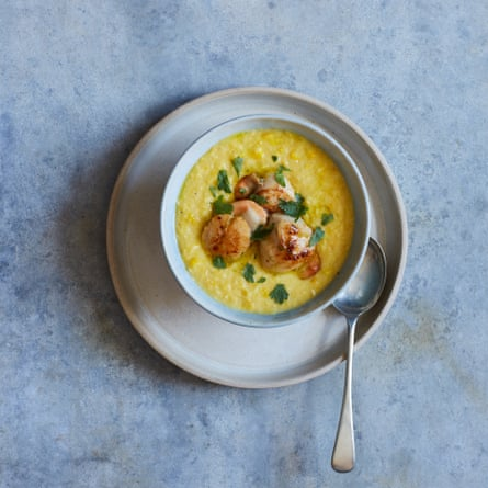 Nathan Outlaw's sweetcorn soup with scallops and lime dressing.