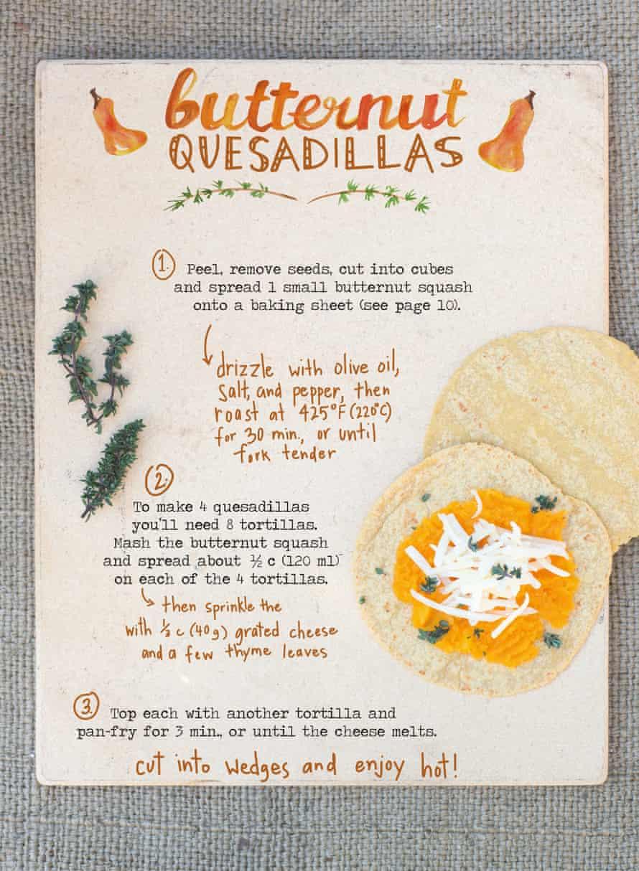 A main course... butternut squash quesadillas...