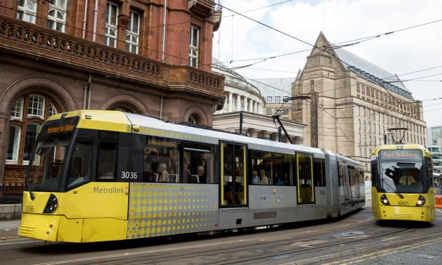 Metrolink trams in Manchester city centre