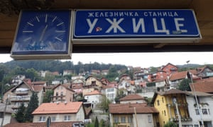 Lost in translation: Užice's station sign in Cyrillic.