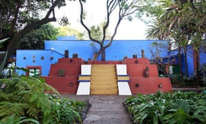 The pyramidical structure in the garden of the Casa Azul as it looks today, with part of Diego Rivera's collection of pre-Hispanic sculptures