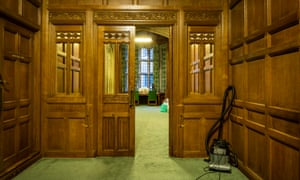In the corridors behind the Commons chamber.