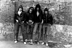 The Ramones pictured for their first album cover.