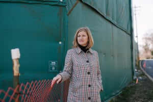 Ginny Kerslake stands outside an inactive work site for the Mariner East pipelines near her home in Exton, PA.