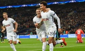 Dele Alli, right, celebrates with Kieran Trippier as Harry Kane prepares to join in - the trio examplify what Tottenham are achieving with faith in youth and good recruitment.