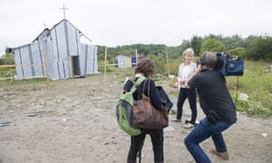 BBC Songs of Praise film crew in The Jungle, Calais, France