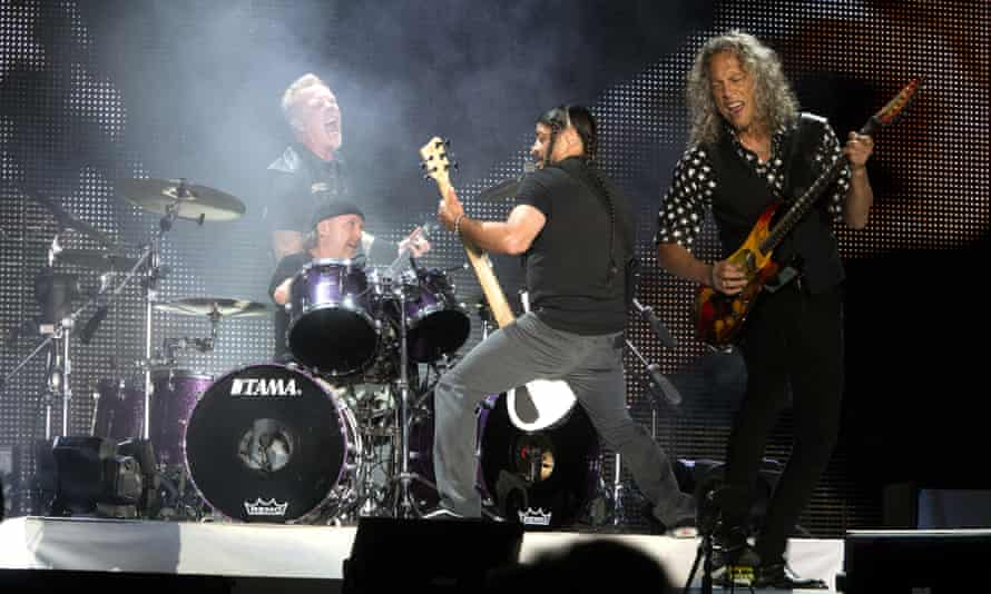 James Hetfield, Lars Ulrich, Robert Trujillo and Kirk Hammett of Metallica at M&T Bank Stadium in Baltimore