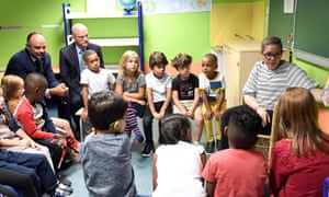 Pupils in France last September on their first day of the school year, sitting alongside the French prime minister, Édouard Philippe (left) and beside him the education minister, Jean-Michel Blanquer.