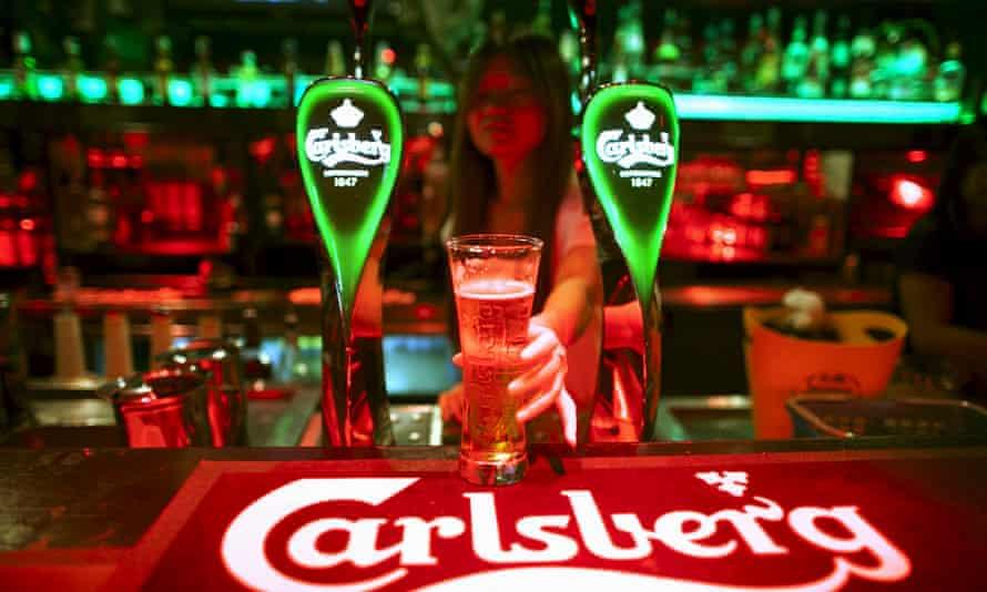 Carlsberg beer at a bar in Kuala Lumpur