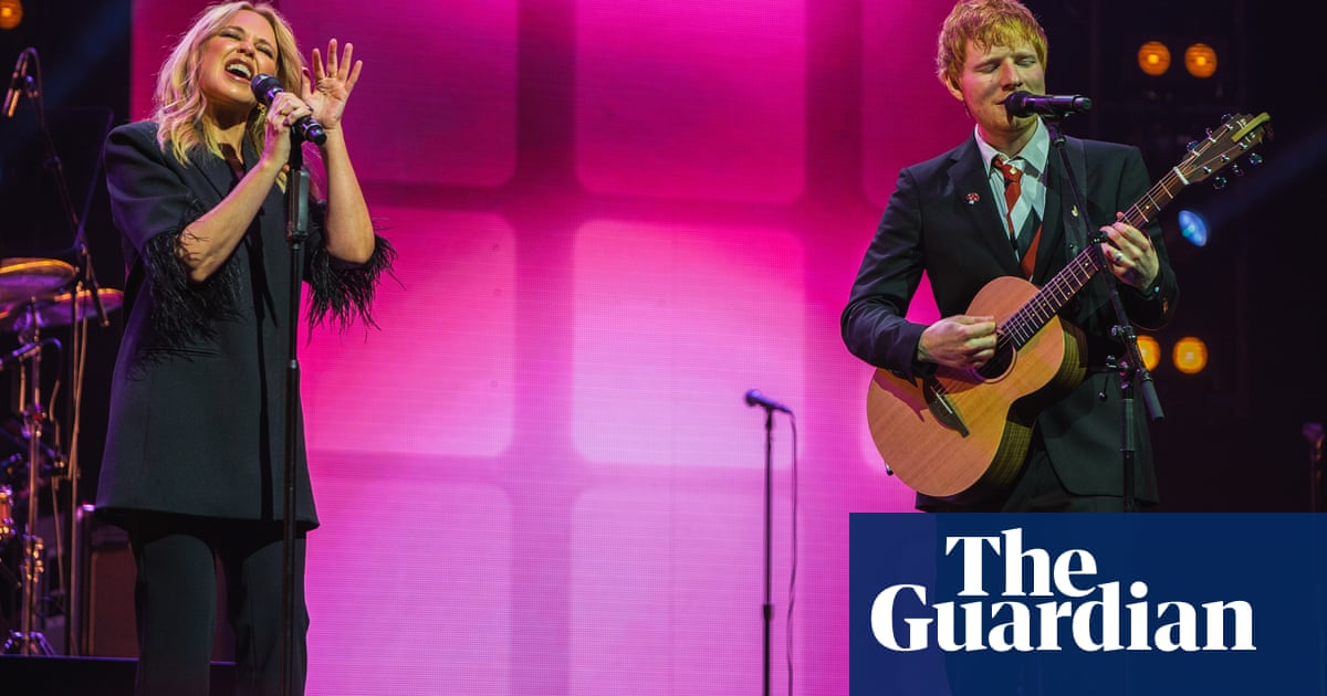 Kylie Minogue and Ed Sheeran perform The Loco-motion at Michael Gudinski state memorial – video