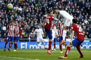 Cristiano Ronaldo goes close with a header.