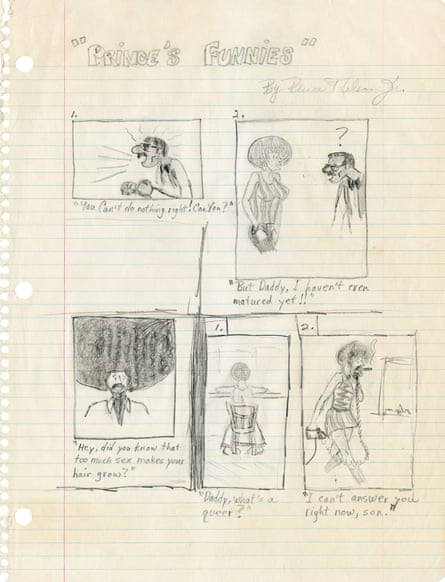 'Hey, did you know that too much sex makes your hair grow?'; a high school comic strip stored at Paisley Park.