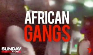 A screenshot from the promo for a story about Melbourne's 'African gangs' crisis, which screened on Channel Seven