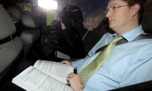 Danny Alexander with a draft copy of the comprehensive spending review.