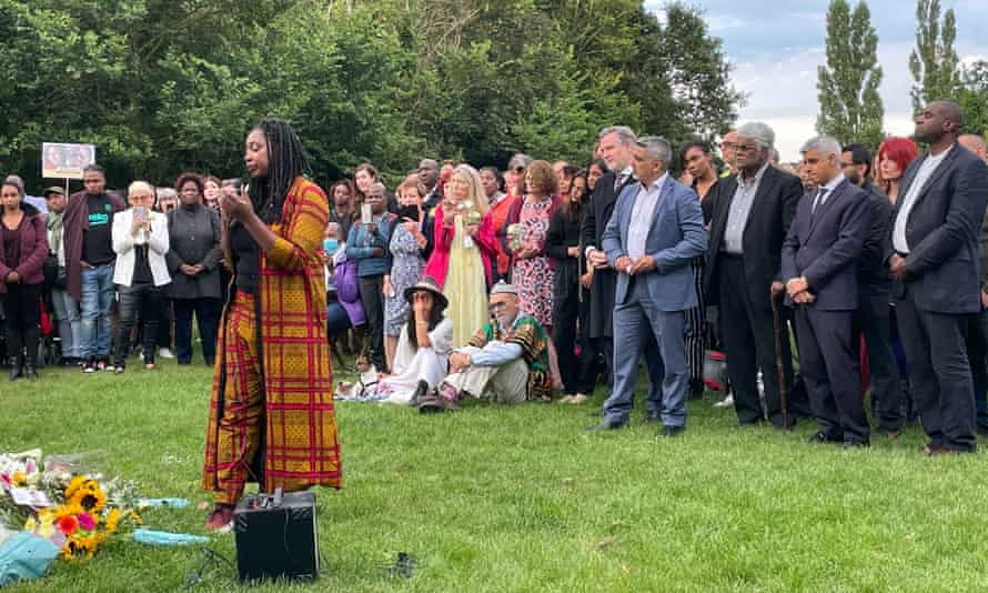 People at a Reclaim These Streets vigil in Fryant Country Park, Wembley, North London pay tribute to murdered sisters Bibaa Henry and Nicole Smallman.