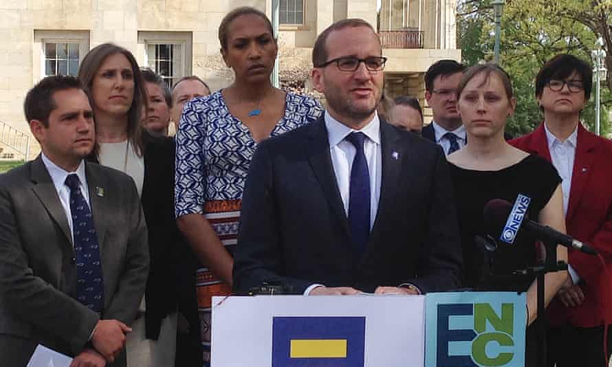 Chad Griffin, executive director of the Human Rights Campaign, speaks at a news conference at the old state Capitol Building in Raleigh, North Carolina, criticising the new law.