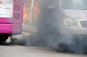 Exhaust smoke from an Arriva in Luton.