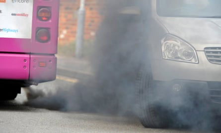 Diesel pollution from a bus.