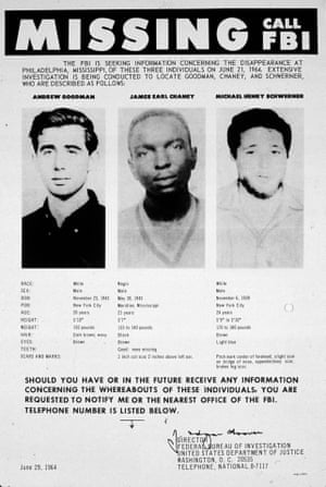 An FBI poster seeking information as to the whereabouts of three civil rights campaigners