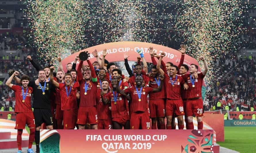 Jordan Henderson and his Liverpool teammates celebrate winning the 2019 Fifa Club World Cup in Qatar.