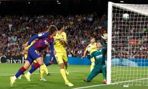 Barcelona's Antoine Griezmann opens the scoring against Villarreal.