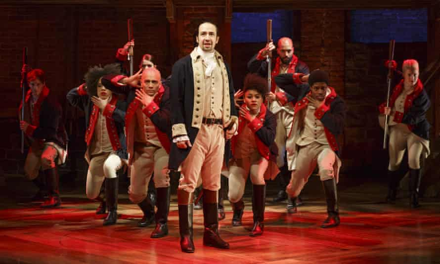 Pushing the boundaries … Lin-Manuel Miranda, centre, performs in Hamilton at the Public theater in New York.