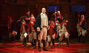 Lin-Manuel Miranda as Alexander Hamilton, one of the Founding Fathers, in the musical Hamilton in New York.