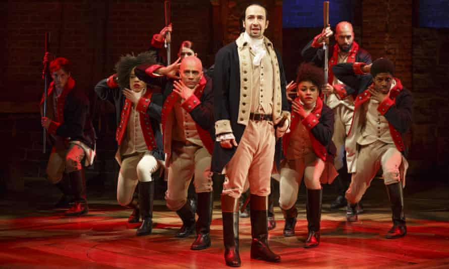 The cast of Hamilton, the Broadway hit about the USA's founding fathers.