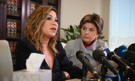 Lizzette Martinez, pictured with attorney Gloria Allred, was 17 when she was allegedly sexually victimized by Kelly.